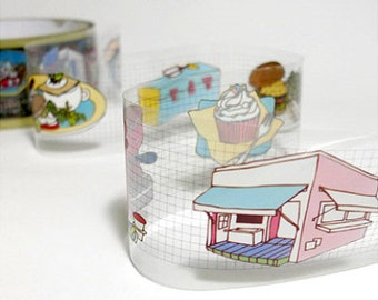 Cafe Illustration Adhesive Tape (1.6in)