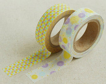 2 Set - Summer Rain Yellow Lilac Dot Adhesive Masking Tapes (0.6in)