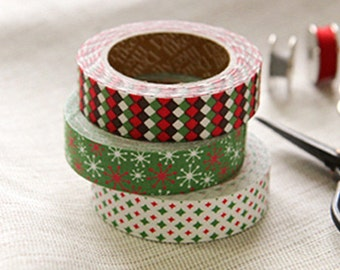 3 Set - Twinkle Diamond Green Glimmer Adhesive Fabric Tapes (0.6in)