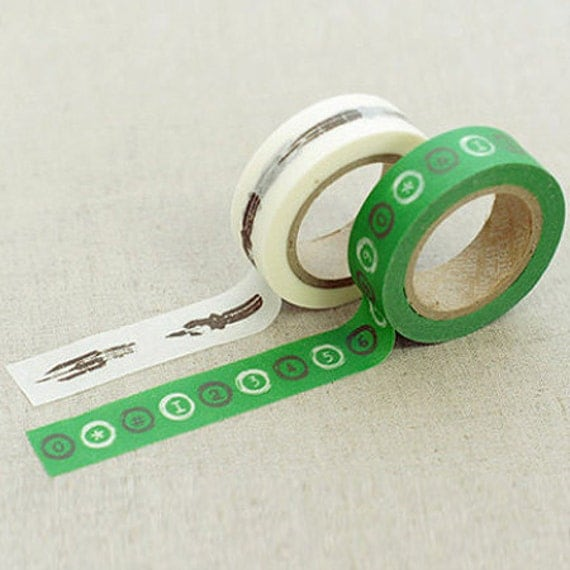 2 Set - Rei Pen Green Number Adhesive Masking Tapes (0.6in)