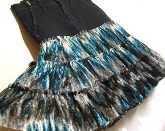 unique upcycled denim skirt for ladies, black and teal