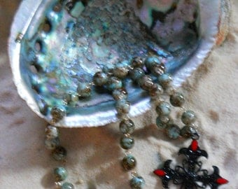 Beautiful Hand Crafted Pendant Necklace With Cross Pendant &  Turquoise Beads