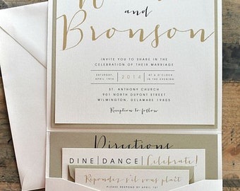 Bronson Wedding Invitation LARGE Pocketfold with Ribbon Tie - Ivory, Gold & Black (customizable)