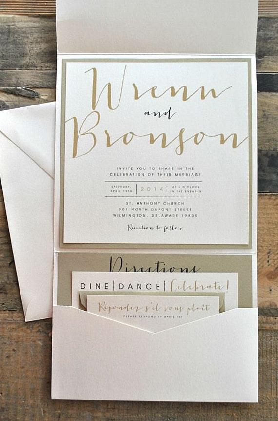 bronson wedding invitation large pocketfold with ribbon tie