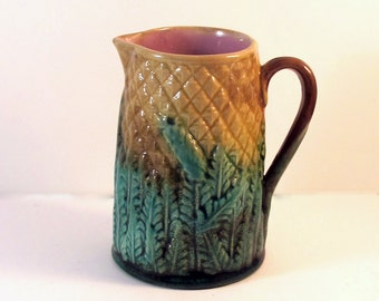 MAJOLICA SALE Take 25% off price with coupon code!  Antique Majolica Pineapple  Pitcher