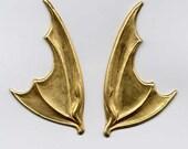 Large Bat Wing Pair Brass Metal Stampings