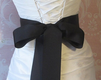 Black Grosgrain Ribbon, 2.25 Inch Wde, Ribbon Sash, Bridal Sash, Wedding Belt, 4 Yards