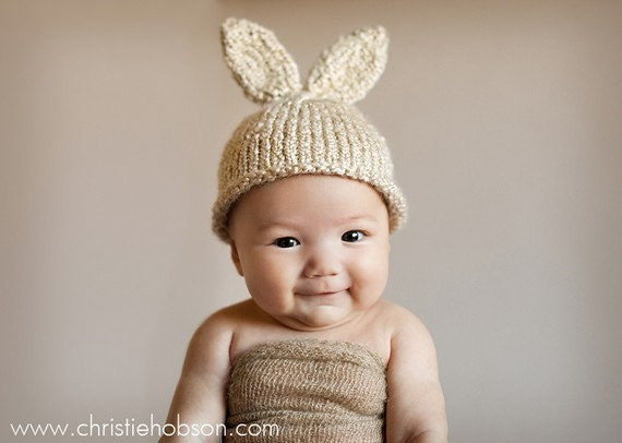 Knit Baby Bunny Hat, 3-6 mo Knitted Newborn Infant Photo Prop, Vanilla Cream