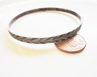 CLEARANCE old sterling silver 800 bangle bracelet  leaves motif ornate marked 800