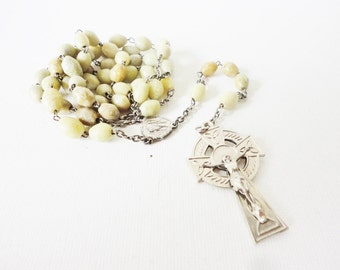 Rosary Religious necklace vintage crucifix pale green gemstones beads