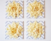 "Wall Decor -SET OF FOUR Light Yellow Dahlias on Gray and White Chevron 12 x12"" Canvases Wall Art- 3D Felt Flower"