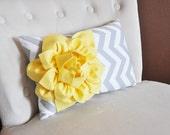 Decorative Lumbar Pillow Yellow Dahlia on Gray and White Zig Zag Chevron Lumbar Pillow 9 x 16
