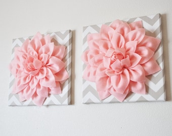 "TWO Wall Flowers -Light Pink Dahlia on Taupe and White Chevron 12 x12"" Canvas Wall Art- Baby Nursery Wall Decor-"