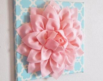 "Wall Flower -Light Pink Dahlia on Blue Tarika 12 x12"" Canvas Wall Art- Baby Nursery Wall Decor-"