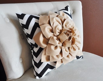 Black and White Zigzag Pillow. Decorative Pillow. Taupe Flower Pillow.
