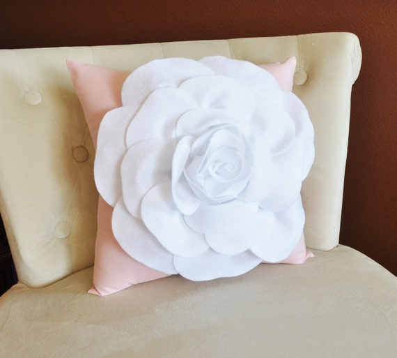 Throw Pillow White Rose on Light Pink Pillow 14x14