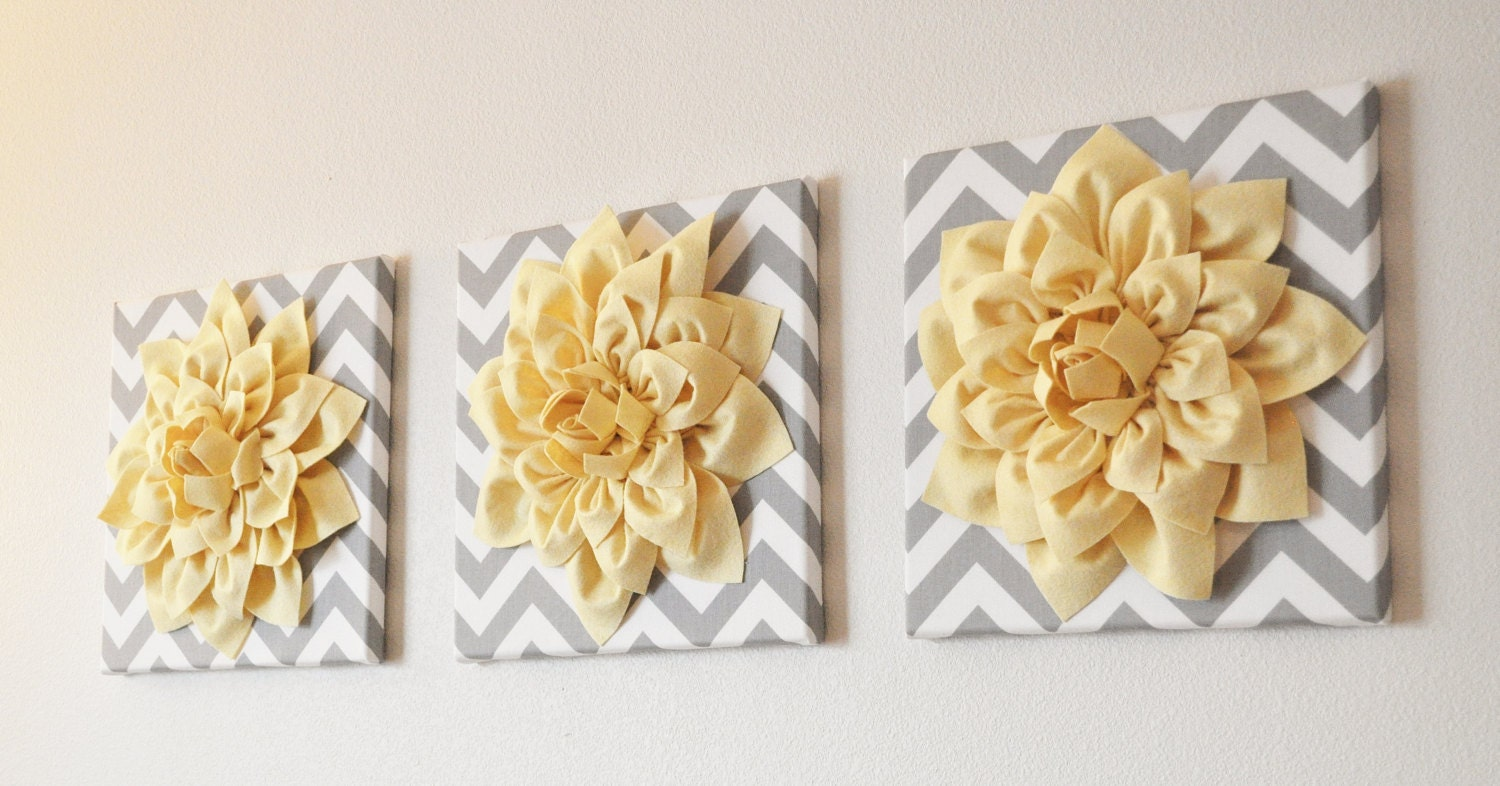 Pale Yellow Wall Decor : Wall art set of three light yellow dahlia on gray and white