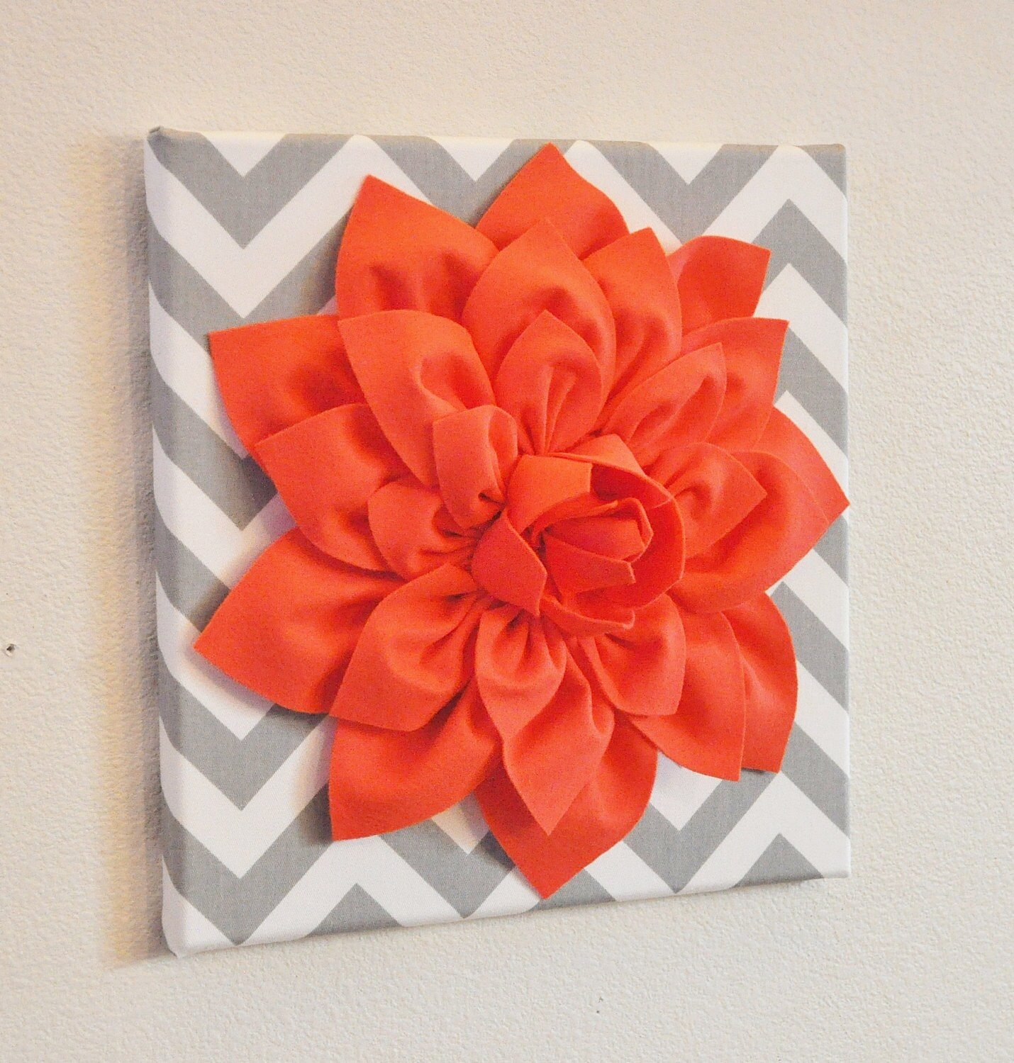 wall flower decor coral dahlia on gray and white chevron 12. Black Bedroom Furniture Sets. Home Design Ideas