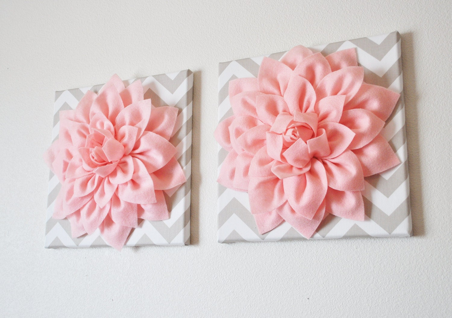 Two wall flowers light pink dahlia on taupe and white chevron for Pink wall art