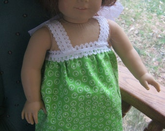 18 Inch Doll Clothes, green circles flannel nightgown with lace trim