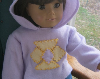18 Inch Doll Clothes, jeans and hoodie, purple and yellow hooded sweatshirt and jeans for 18 inch doll
