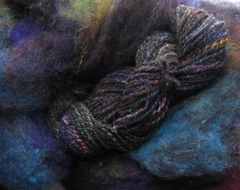 Carded fiber blend,Nite Glow - 4 oz.- Opalescence, for hand spinning, felting, mix media, arts and crafts