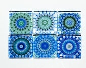 Mandala Magnets - Set of 6 Square Glass Magnets in Blue, green (B5)