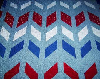 """Broken Chevron-Handmade-Patchwork Quilt-61"""" x 64""""- Made in USA by MJ Quilts-Free Shipping within the United States"""
