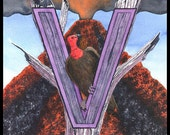 "V= Vultures and a Volcano ""V"" Spelletoes Alphabet Placard"
