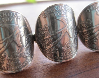 Wraparound Oklahoma Quarter Ring with Sterling Silver Band MADE TO ORDER.