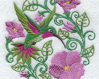 Hummingbird Paradise Embroidered Cotton Terry Towel for Kitchen or Bath Hand Towel