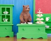 2 for 1 SALE - tea shop grizzly bear diorama art print: Bear Necessities