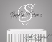 Nursery Wall Decals. Sophia Victoria name wall decal for boys and girls rooms. Custom name decal made in any colors and size you want.1020