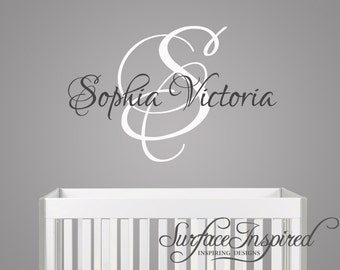 Nursery Wall Decal - Custom name monogram wall decal for boy and girl nursery. Custom made decal in any colors you want.