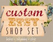 Custom Etsy Shop Banner Set. Vintage Modern. Boho Shabby Chic. Custom Graphic Design. Country Cottage Style