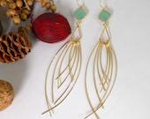 Extra Long Dangle Earrings, Wedding earrings, TearDrop earrings, Mint faceted, Cluster Earrings, Bridal earrings