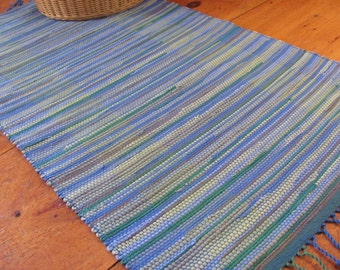 Coastal Seaside Beach Chic Decor Blue Green Rag Rug, Lake Cottage Rustic Cabin Country Farmhouse Decor, Hand Woven Recycled Cotton Floor Mat