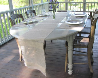 Rustic Cottage Chic Linen Table Runner, Chippy French Country Vintage Antique Farmhouse Romantic Wedding Decor, Hand Woven Natural Cream