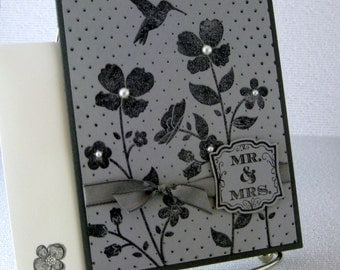 Wedding Card or Birthday Card or Card for Best Friend Choose from 3 Beautiful Handmade Cards Gray Grey Monochrome