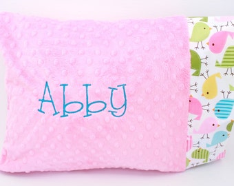 Personalized Minky Toddler Pillow Case- Spings Birds on Bubblegum Pink Minky