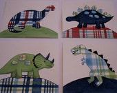 Madras dinosaur nursery wall art boy kids dino prints