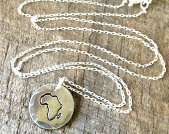 Sterling silver hand stamped delicate & petite Africa necklace