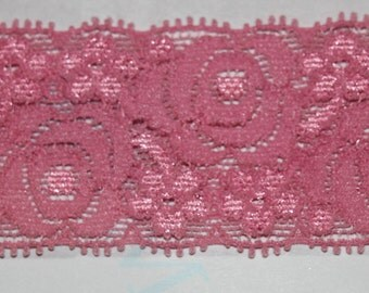 "2 yards pink rose HEADBAND scalloped headband lingerie stretch lace 1.375"" wide"