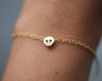 GOLD SKULL BRACELET, gold teeny tiny cute and dainty Skull charm bracelet on fancy gold chain