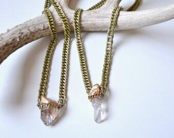 Chunky Quartz Crystal Necklace/ Chunky Chain Necklace/ Natural Gem Stone Necklace/ Crystal Healing/ Gold Dipped Quartz Crystal Necklace