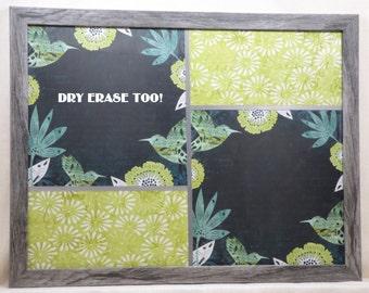 Magnetic Board-Dry Erase Board-Magnet Board-Framed Bulletin Board-Wall Decor-Housewares-Hummingbird Design-includes matching magnets