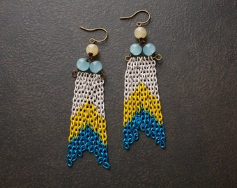 Color Blocked Chevron Shoulder Duster Dangle Earrings with Pale Blue Jade and Honey Jasper Beads