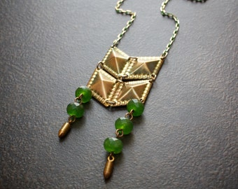 Long Antique Brass Chevron Necklace with Grassy Green Agate Rondelles and Bullet Charms