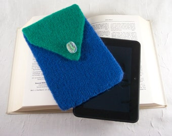Kindle E-Reader Cover or Case or Cozy in Emerald Green and Cobalt / Sapphire Blue Hand Knitted Felt