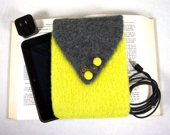 Kindle Cover, E-Reader Case, Cozy or Sleeve with Accessory Pocket in Neon Yellow-Green and Gray Knitted Felt